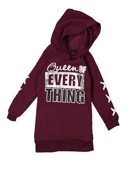 Girls 7-16 Lace Up Sleeve Graphic Sweatshirt Dress - 3615038340050