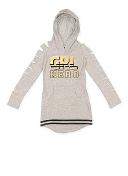 Girls 7-16 Grl Hero Hooded Sweatshirt Dress - 3615038340055