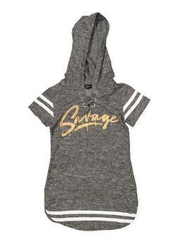 Girls 7-16 Savage Lace Up Sweatshirt Dress - 3615038340058