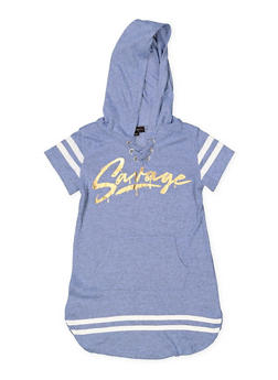 Girls 7-16 Savage Lace Up Sweatshirt Dress - 3615038340058