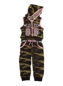 Girls 7-16 Camo Graphic Hooded Jumpsuit - 3615038340065