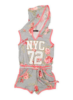 Girls 7-16 Hooded Floral Romper - 3615038340075