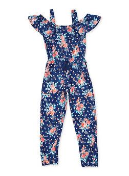Girls 7-16 Floral Ruffled Cold Shoulder Jumpsuit - 3615038340118
