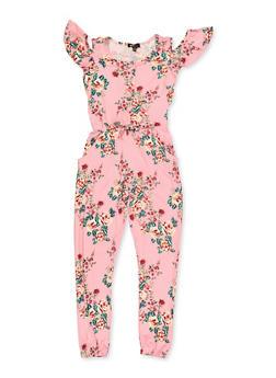 Girls 7-16 Cold Shoulder Floral Jumpsuit - 3615038340119