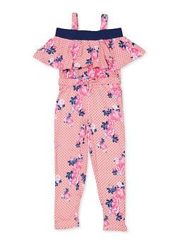 Girls 7-16 Floral Cold Shoulder Jumpsuit - 3615038340120