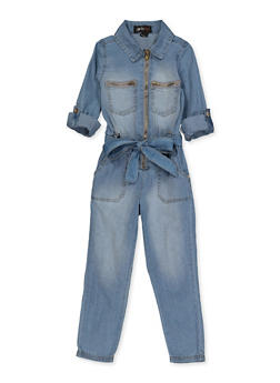 Girls 7-16 Denim Zip Front Jumpsuit - 3615038340126