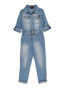 Girls 7-16 Denim Button Front Jumpsuit - 3615038340127