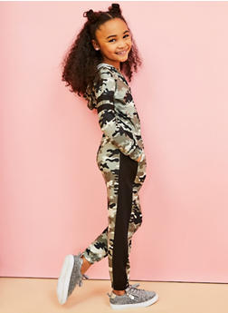 Girls 7-16 Camo Hooded Jumpsuit - 3615038340136