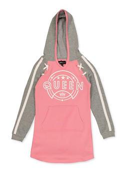 Girls 7-16 Queen Sweatshirt Dress - 3615038340141