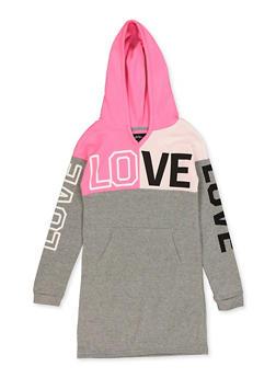 Girls 7-16 Love Color Block Sweatshirt Dress - 3615038340144