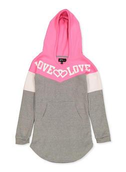 Girls 7-16 Color Block Love Graphic Sweatshirt Dress - 3615038340145
