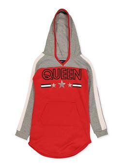 Girls 7-16 Queen Color Block Sweatshirt Dress - 3615038340147