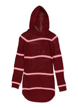 Girls 7-16 Striped Hooded Sweater Dress - 3615038340153