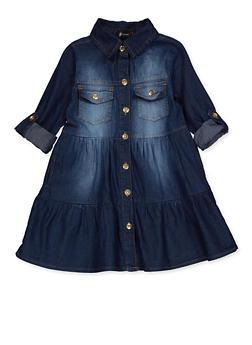 Girls 7-16 Denim Button Front Skater Dress - 3615038340160