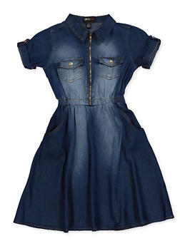 Girls 7-16 Half Zip Denim Skater Dress - 3615038340161