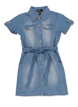 Girls 7-16 Denim Shirt Dress - 3615038340162
