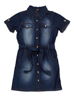 Girls 7-16 Denim Shirt Dress - 3615038340162