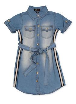 Girls 7-16 Striped Tape Detail Shirt Dress - 3615038340163
