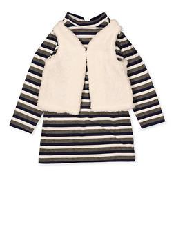 Girls 7-16 Striped Shift Dress with Sherpa Vest - 3615038340175