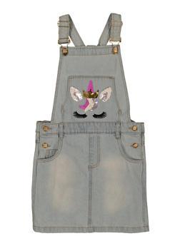 Girls Reversible Sequin Unicorn Overall Dress - 3615038340250