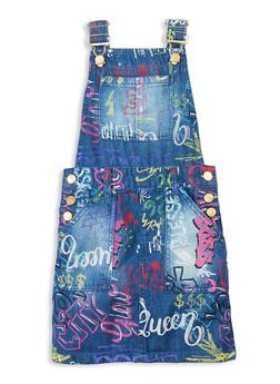 Girls Graffiti Print Denim Overall Dress - 3615038340259