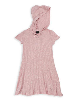 Girls 7-16 Short Sleeve Hooded Lace Up Ribbed Knit Dress - 3615051060006