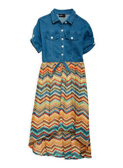 Girls 7-16 Printed High Low Dress - 3615051060030