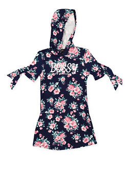 Girls 7-16 Hooded Graphic Floral Dress - 3615051060032