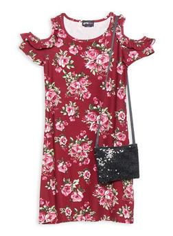 Girls 7-16 Floral Cold Shoulder Dress - 3615051060038