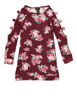 Girls 7-16 Floral Caged Sleeve Dress - 3615051060041