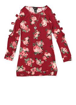 Girls 7-16 Floral Caged Sleeve Dress - 3615051060041