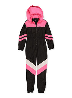 Girls 7-16 Half Zip Color Block Nylon Jumpsuit - 3615051060060