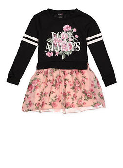 Girls 7-16 Love Always Floral Sweatshirt Dress - 3615051060075