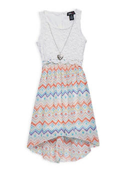 Girls 7-16 Printed High Low Dress with Necklace - 3615051060080