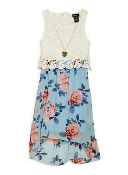 Girls 7-16 Floral High Low Dress with Necklace - 3615051060081