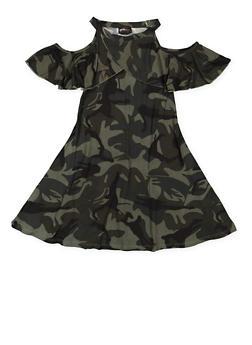 Girls 7-16 Camo Cold Shoulder Dress - 3615051060082