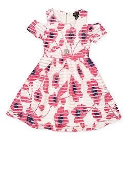 Girls 7-16 Cold Shoulder Printed Mesh Skater Dress - 3615051060085
