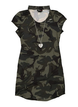 Girls 7-16 Camo Keyhole T Shirt Dress with Necklace - 3615051060086