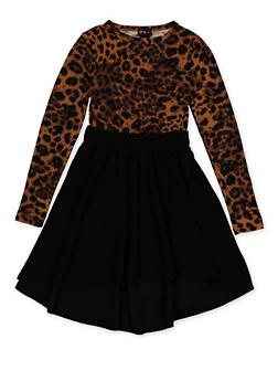 Girls 7-16 Half Printed Skater Dress - 3615051060130