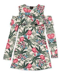 Girls 7-16 Floral Ruffled Cold Shoulder Dress - 3615051060131