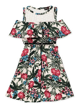 Girls 7-16 Cold Shoulder Belted Floral Skater Dress - 3615051060135