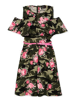 Girls 7-16 Printed Cold Shoulder Skater Dress - OLIVE - 3615051060137
