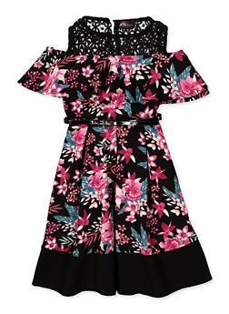 Girls 7-16 Cold Shoulder Belted Floral Dress - 3615051060138