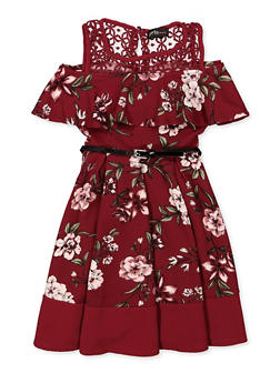 Girls 7-16 Cold Shoulder Belted Floral Dress - 3615051060138