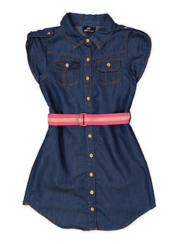 Girls 7-16 Belted Chambray Shirt Dress - 3615054730015