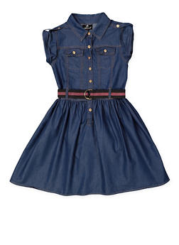 Girls 7-16 Belted Denim Skater Dress - 3615054730016