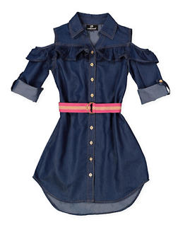 Girls 7-16 Denim Cold Shoulder Shirt Dress - 3615054730017