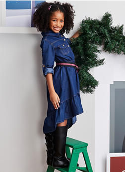 Girls 7-16 Belted Half Button Chambray Dress - 3615054730018