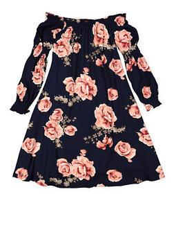 Girls 7-16 Floral Off the Shoulder Shift Dress - 3615060580020