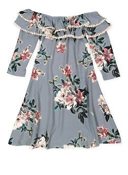 Girls 7-16 Ruffled Floral Soft Knit Dress - 3615060580025